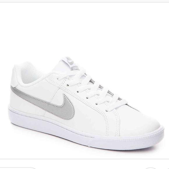 info for 928c6 003fb Nike Court Royale White Metallic Silver Sneakers. M5b6914224cdc30dbc2f89fe3